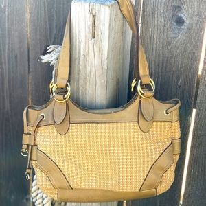 Woven fabric & leather Stone Mountain shoulder bag